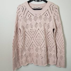 LOFT wool blend chunky knit sweater scallop detail